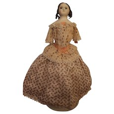 'Mad Alice' All Original Wax Over Paper Mache Doll, C. 1850's, 15 inches