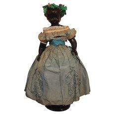Rare Antique Black Wax Over Doll, All Original, C. 1870's, 20 inches