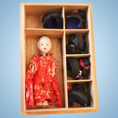'Daimaru-ichi' Tiny Japanese Doll in original box with Five Wigs, Dolls House size