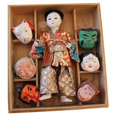 Japanese Theatre Mask - Dance Doll with Six Lovely Masks in Original Box