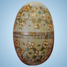 Antique Turned Painted Wooden Egg in Two Halves