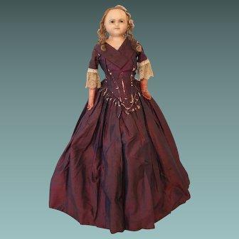 Early English Slit Head Wax Doll Wearing A Fabulous Purple Silk Dress