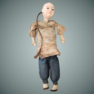 Unusual Antique Chinese Boy Doll with Queue Pigtail
