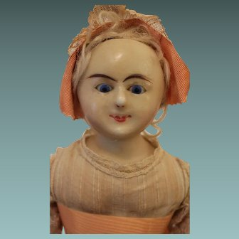 A Rare Early Wax over Paper Mache Wired Eye Sleeping Doll, English 1850's, 20 1/2 inches