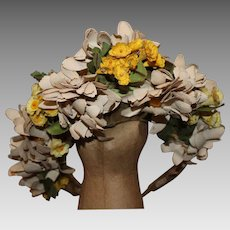 I. Magnin & Co, Vintage Summer Wedding Flower Crown, Fascinator, Hat,