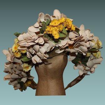 I. Magnin & Co, Vintage Summer Wedding Flower Crown, Fascinator, Hat,