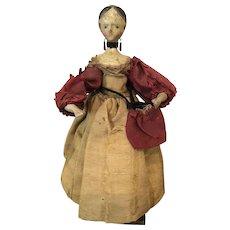 "Fabulous Grodnertal Wooden Peddler Doll, Early 19th Century, 8 1/2"""