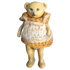 Antique All Bisque Teddy Baby Bear by Hertwig, 1 1/2""