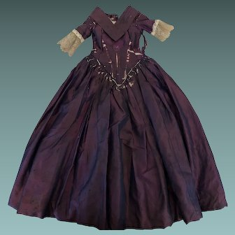 Fine Iridescent Purple c.1850's Dolls Dress for a Wax Over Type Doll