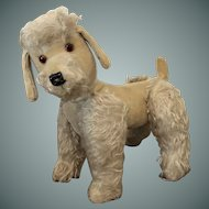 Vintage Posable White Mohair Poodle, 12 1/2 inches