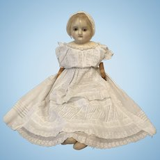 Early Large Child Wax over Paper Mache Doll, 27""
