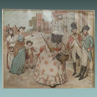 R. Caldecott Print of Dressed Bear with Soldiers and Crowd, c.1900.s
