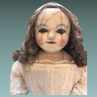 Large Child Wax over Paper Mache Doll, Sleeping Eyes, c.1850's, 25 inches
