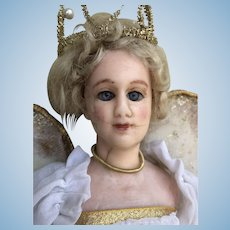 Edwardian Wax Fashion Doll Dressed as a Fairy, 15 inches