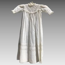 English Antique Victorian Christening Gown with inlaid Lace - 1