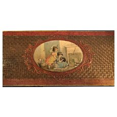Wonderful Lithograph Box, Kittens and Dolls, Basket Weave for All Bisque Doll Layette, c.1880