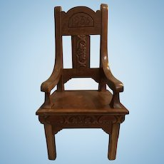 1933 Carved Wooden Dolls Chair