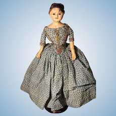 1850's Mad Alice Wax over Paper Mache Doll in Original Clothing, 19 inches