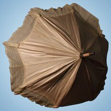 Elegant Antique Silk and Lace Doll Parasol, 15 inches
