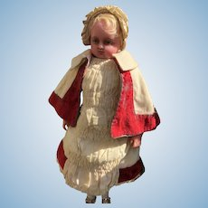 Poured Wax Hamley's Marked Pierotti Child Doll, 18 inches