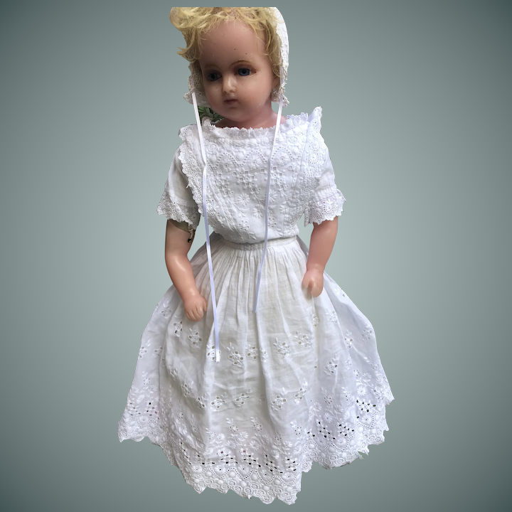 A Rare Marked Lucy Peck Poured Wax Child Doll, English circa 1870's