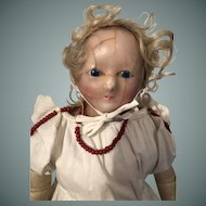 Early Wax Over Paper Mache Doll in Original Dress, 19 1/2 inches