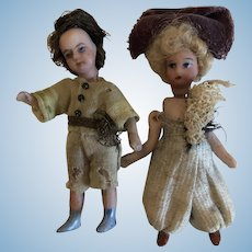Pair of French All Bisque Lilliputian Dolls