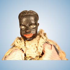 Early Ebony Complexion Continental Carved Wooden Doll, 10 inches