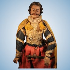 Fabulous Early Carved Wooden Gentleman with Mustache Doll, All Original, 14 inches
