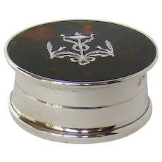 An Antique Silver And Tortoiseshell Pill Box, 1917.
