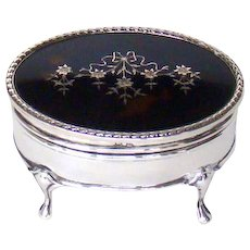 A Very Attractive Tortoiseshell And Sterling Silver Jewellery Box, 1911.
