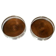 A Stylish Pair Of Vintage Sterling Silver Coasters, 1976