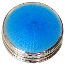 A Blue Enamelled Sterling Silver Make Up Box, 1929