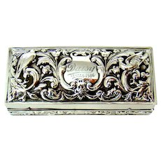 A Beautifully Embossed Antique Sterling Silver Jewellery Box, 1906.