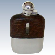 A Vintage Sterling Silver And Glass Hip Flask, 1940.