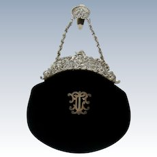 A Stunning Antique Sterling Silver And Velvet Evening Purse, 1901.