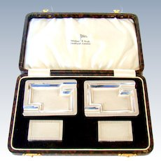 An Art Deco Sterling Silver Set, Of Ash Trays And Match Box Holders,1939.