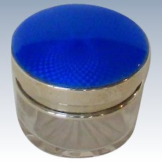 A Vintage Sterling Silver, Blue Guilloche-Enamelled Top Jar, 1923.