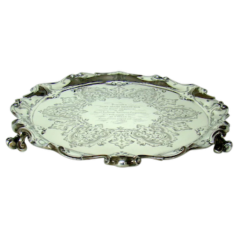 A Large Mid-Victorian Silver Tray/Salver, 1860.