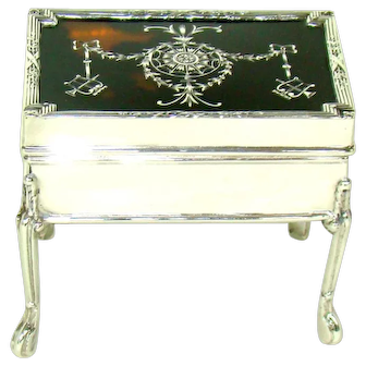 An Antique Sterling Silver And Tortoiseshell Jewellery Box, 1912.