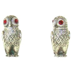 A Pair Of Victorian Silver Plated Owl Salt And Peppers.