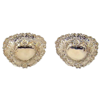 A Pair of Antique Silver Heart Shaped Pin Dishes, 1895.