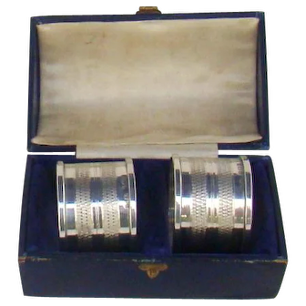 A Boxed Pair Of Vintage Sterling Silver Napkin Rings, 1948.