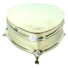 An Antique Sterling Silver, Heart Shaped Jewellery Box. 1909.
