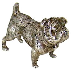 A Delightful Cast Sterling Silver Figure Of A Pug, 1971.