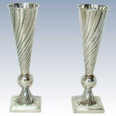 A Stylish Pair Of Vintage Sterling Silver, Flower Vases, 1952.