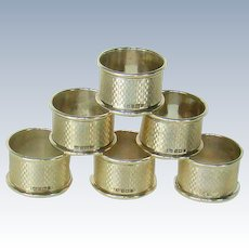 A Set Of Six Sterling Silver Napkin Rings, 1968.