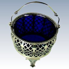 A George V. Vintage Silver And Blue Glass Bowl, 1935