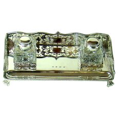 A Good Quality Vintage Silver, Double Inkwell Desk Stand, 1994.
