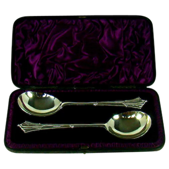A Victorian Pair Of Silver Serving Spoons, 1888.